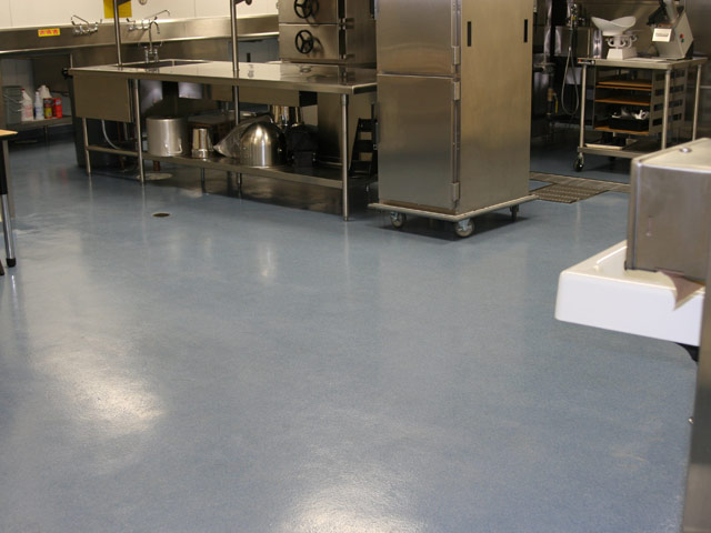 Epoxy industrial flooring waterproofing experts for Commercial kitchen flooring epoxy